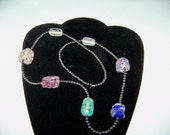 dichroic glass bead necklace