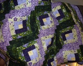 Butterflies and Flowers - Log Cabin Bed Quilt