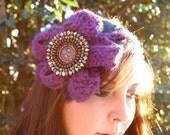 Purple Headband Headwrap with purple flower and beaded center