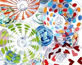 CIRCLES, NO. 2 - watercolor reproduction