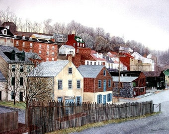 HARPERS FERRY watercolor reproduction