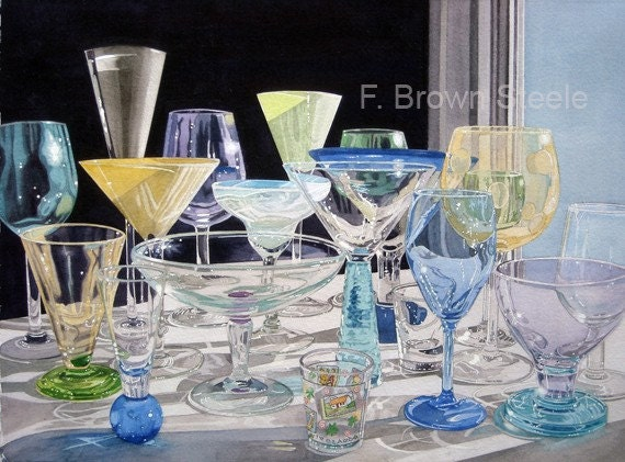 Drinking Vessels Watercolor Reproduction