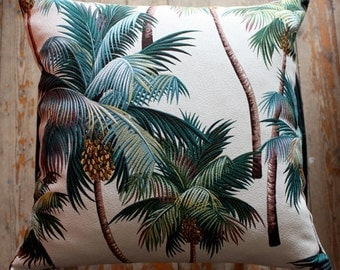 palm tree barkcloth cushion