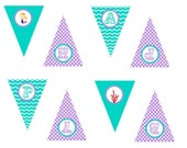 Printable Mermaid Happy Birthday Banner