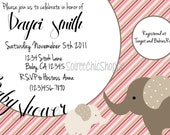 Custom Printable Pink Elephants Baby Shower Invitation