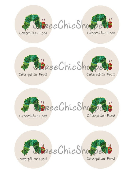 """READY TO PRINT: """"Caterpillar Food"""" Circle Favor Tags/Jar Labels/cupcake toppers"""