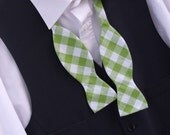 Mens bow tie green and white cotton gingham print freestyle for men
