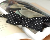 Polka dot bow tie, skinny style, black and white fabric, self tie bowtie, for men.