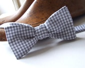RESERVED for CLI: Bowtie, handmade in gray gingham, freestyle, for him