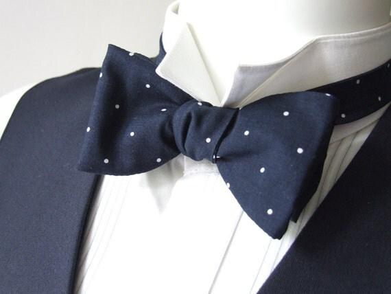 Mens Bow Tie, pin dot, blue and white, freestyle bowtie, classic, for him, self tie, adjustable