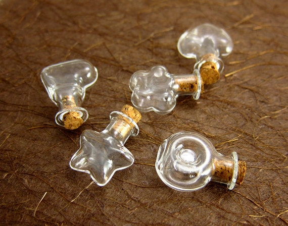 CUTE 5 Tiny fun shaped glass vials mix and match