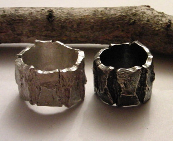 Bold Rough engagement wedding unisex ring bark pattern to order by AnOtherRing