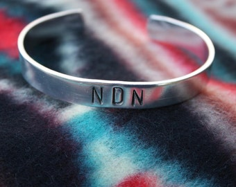 NDN Hand Stamped Cuff Bracelet - Indian - Native American Style - Feather Design - Non Tarnish Aluminum Cuff - Silver Cuff - Two Feathers