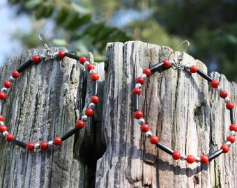 Bone And Coral Statement Earrings - Red Coral Earrings - Black Bone Earrings - Large Hoops - Gift For Her - Tribal - Boho - Gypsy