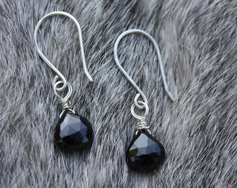 Black Spinel Earrings Wire Wrapped With Sterling Silver - Gemstone Briolettes - Fine Jewelry - Hand Formed - Black And Silver Earrings