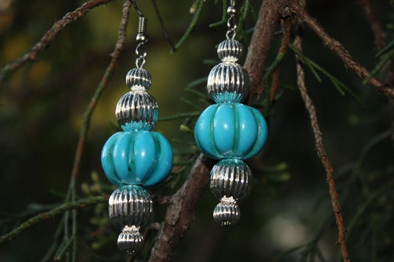 Turquoise Earrings - Turquoise And Silver Earrings - Native Inspired Southwestern Style - Gift For Her - Sky Blue Earrings
