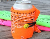 Neon orange cozy -  reusable sleeve for your can, bottle or coffee cup