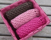 Chocolate covered raspberry - three hand knit 8x8 cotton eco friendly dishcloths or washcloths with gift basket