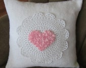 Shabby chic lace and roses heart hand knit 16x16 pillow with insert