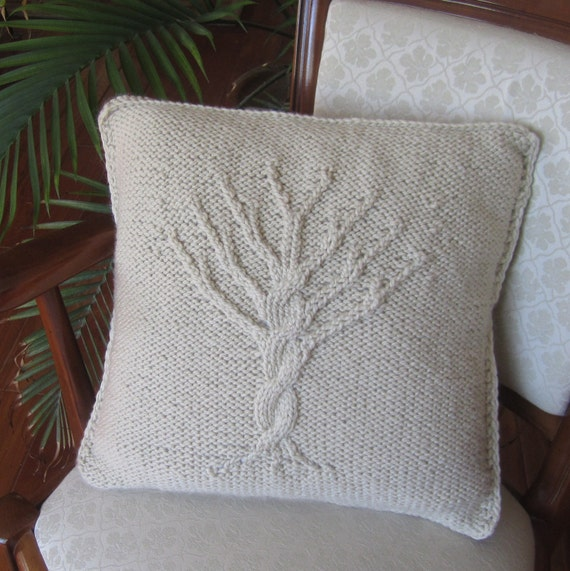 Tree of Life hand knit pillow cover