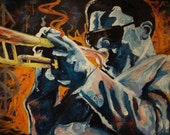 "The Jazz Player - Original Abstract Acrylic Painting on Canvas 36"" x 72"""