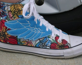 Blue and White Percy Jackson Hermes Inspired Lace Up Shoe Wings