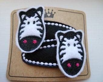 Wacky Wild Zebras Embroidered Felt Hair Clips Barrettes