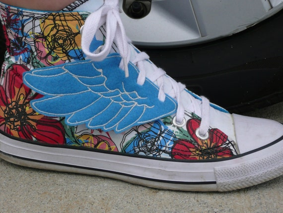 Blue and Light Gray Percy Jackson Hermes Inspired Lace Up Shoe Wings