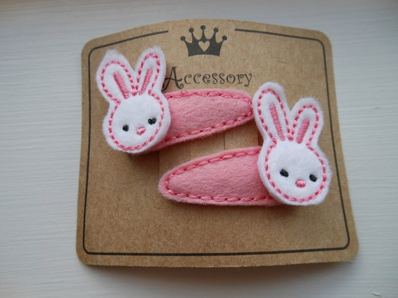Adorable Baby Easter Bunny Miniature Embroidered Felt Hair Clips