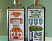 Vintage Decanter Set, Gin and Scotch Rowhouse Decanters, Nuline NJ Glass Bottles, Painted Bottles