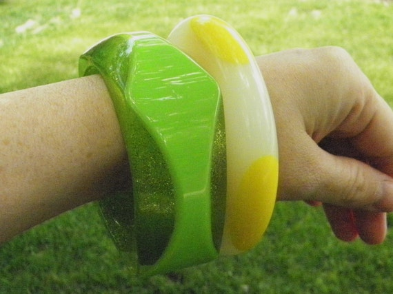 RESERVED FOR BETTED Lucite Bracelets, Cuff Bracelet, Green and Yellow Set of 2 Bangles, Possibly Bakelite