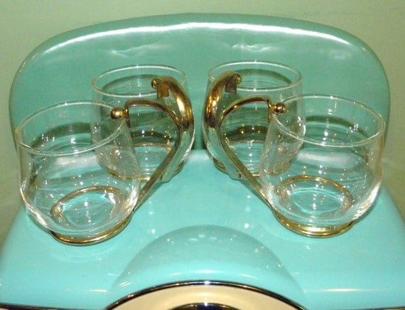 Glass with Gold Handle Set of Four Mod