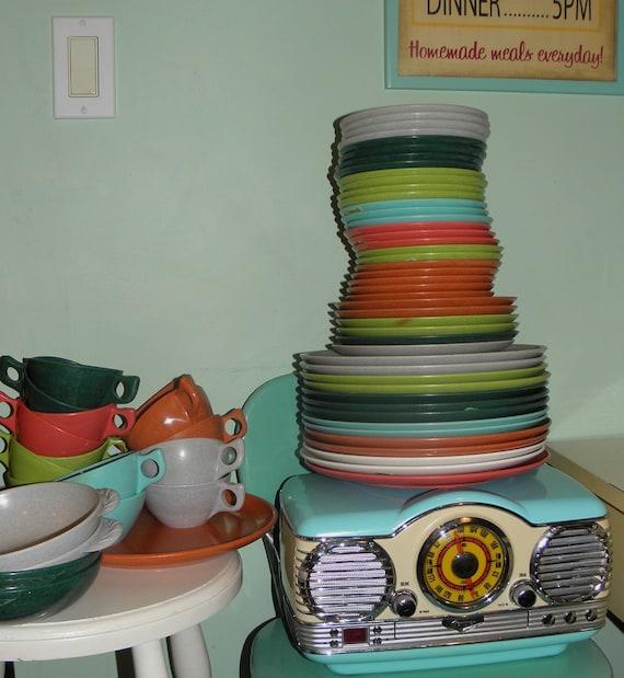 Huge Lot Melmac, Color Flyte Melmac, Graniteware, 1950s Melmac