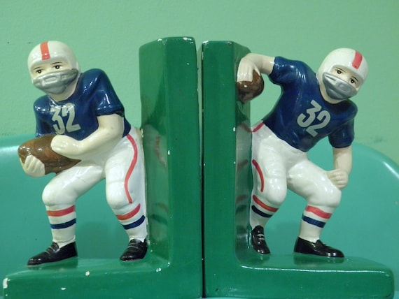 Vintage Football Bookends, Football Player Book Ends, NY Patriots Colors, Vintage Boys Room