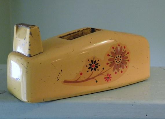 Vintage Tape Dispenser, Scotch Tape Dispenser, Yellow Gold Desk Supplies
