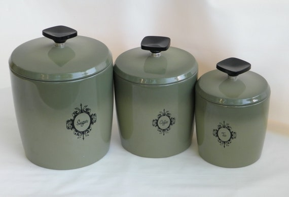 Vintage Avocado Green Canister Set, West Bend Canisters, 1970s Mod Kitchen