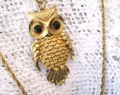 Vintage Owl Pendant Necklace, Gold, Amber, Retro Jewelry