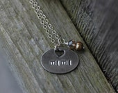 """Custom fine silver """"Mimi"""" necklace - grandmother, Nana, Nannie, Mom, Mother charm with pearl accent"""