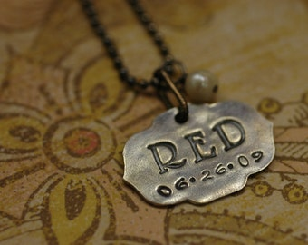 Fine Silver custom monogram necklace with birthdate and pearl accent