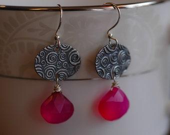 Hot Pink Swirls on Fine Silver earrings with chalcedony briolette