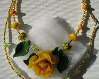 Yellow rose of Texas lampwork 2 beaded necklaces