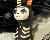 RESERVED OOAK Goth Halloween Miniature Figurine - Day of the Dead Bunny