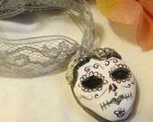 OOAK - Goth - Art doll - Necklace - Day of the Dead in Grey