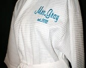 Personalized Bride on Back Waffle Weave Style Spa Robe choice of Colors and Personalization