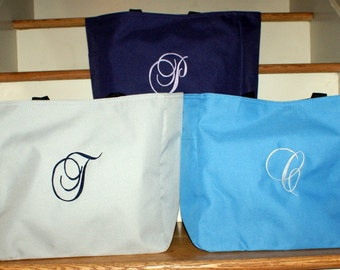 Large Tote Bag Personalized Set of 3, Bridesmaids Tote Bag, Monogrammed Bag, Personalized Tote Bag, Gym Bag, Beach Bag Personalized