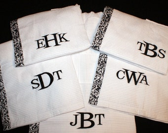 Spa Wrap Waffle Weave, Personalized Spa Wrap, Monogrammed Wrap, Personalized Towel Wrap, Monogrammed Bath Wrap,Swimsuit Cover,  Set of 6