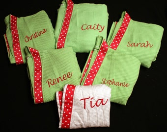 Spa Robes Set of 6 with an added ribbon Your choice of Colors and Personalization
