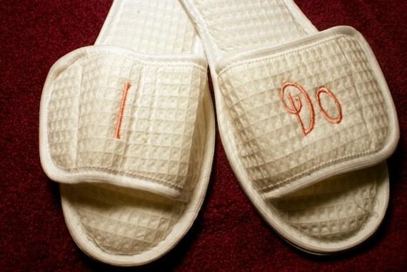 Slippers - I Do Slippers - Brides I Do Slippers - Bride Slippers - Personalized Bridal Slippers - House Shoes - Monogrammed Slippers