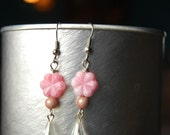 Pale Pink Flower Upcycled Earings
