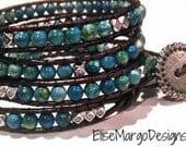 Boho Custom 4 Wrap Leather Bead Bracelet w/ Turquoise & Tibetan Silver Beads